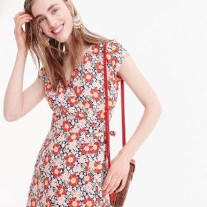 J. Crew Mercantile floral wrap midi dress